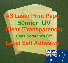 150 X A3 Clear UV 50micr Label Adhesive Sticker Laser Print paper (transparence)