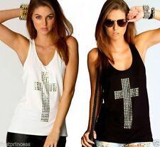 camiseta algodon cruz plateada Hot rhinestones cross low o-neck tank top M L XL