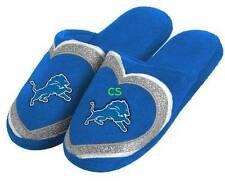 NEW-Detroit Lions NFL Football Blue Glitter Slip On Slide Plush Slippers- 11/12