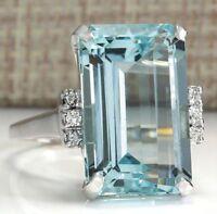 Men Woman Jewelry 6.35ct Aquamarine 925 Silver Wedding Bridal Ring Size 6-10