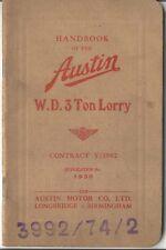 Austin WD 3 Tonelada Camión 1940 contrato V/3992 Original Propietarios Manual Pub. 1930