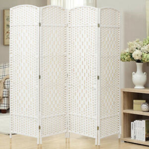 Modern 4/6 Panels Wood Slat Privacy Screen Folding Room Divider Partition