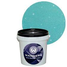 Wanders24 Glimmer-Optik Silber-Türkis 1L Glitter Effektlasur Farbe Glitzer