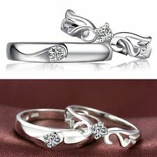 Band Plated Women And Men Finger Heart Promise Fashion Silver Wedding Ring