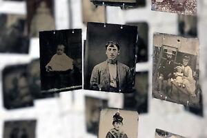 Antique Vast Collection Of 150 19thC Tinplate Portrait Photographs c.1850-1900