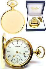 Woodford Gent's Gold Plated 17 JEWEL Full Hunter Pocket Watch With Chain 1069
