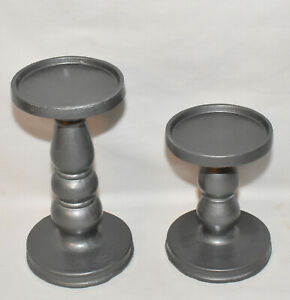 Pillar Candle Holders 2pc Set Hammered Gray Pedestal Candle Stands Hand Painted