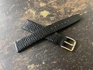 Matte black 18mm lizard grain supple Genuine Calf Leather vintage watch band NOS