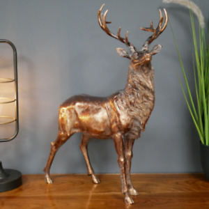 Large Antique Bronze Resin Stag Ornament Christmas Decoration