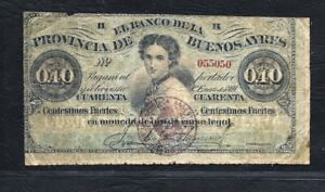 Argentine Buenos Aires 40 cts Fuentes 1869 #S504