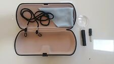 DLX. BLACK READING GLASSES CASE 5pc Spectacle Protection cloth+cord+2 repair kit