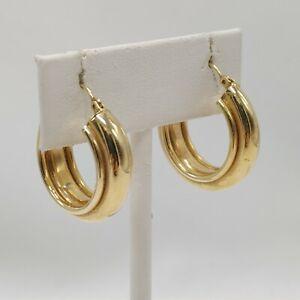 "14K Yellow Gold - Hollow Hoop Earrings - Less Than 1"" - 5 Grams - As Is"
