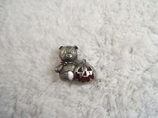 Silvertone Teddy Bear Pumpkin Pin (A46)