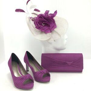 Jacques Vert Accessory Set Womens Heels UK 4 Clutch Bag Floral Fascinator 181129
