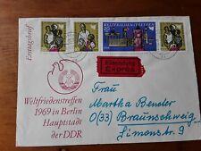 DDR embossed fdc 1969 international peace meeting East Berlin on se tenant sheet