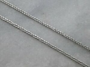 """Wonderful Italian Solid 14ct White Gold Foxtail Chain Necklace - 18.5"""" - 3.6g"""