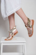 Ancient Greek style gladiator real leather sandals handmade gold flat