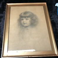 "Charles Akers (USA, 1835-1906) ""Head of an Ideal Child"" Crayon Portrait on Paper"
