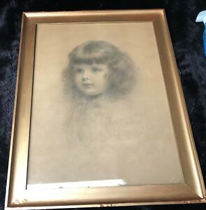 """Charles Akers (USA, 1835-1906) """"Head of an Ideal Child"""" Crayon Portrait on Paper"""
