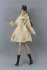 3in1 Fashion Khaki Winter fur Coats Outfit+boot+Sunglasses For 11.5in.Doll
