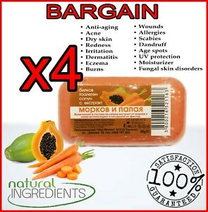 4x Herbal soap with Carrot & Papaya -Anti-aging,UV Protection,Acne,Vitamin E & C