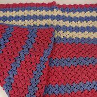 "60 x 45"" Handmade Vintage Crocheted Throw Blanket Pink Blue White Stripe Pattern"