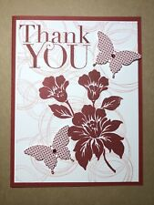 "Card Kit Set Of 4 Stampin Up Cherry Cobbler Butterflies ""Thank You"""