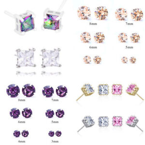 Elegant Cubic Zirconia Stud Earrings Princess Cut Square Silver Plated Earrings