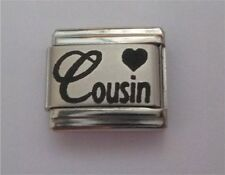9mm Classic Size Italian Charms Laser Charm  L10  Cousin with Heart