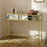 Large gold frame clear mirrore glass console table vintage luxe living room hall