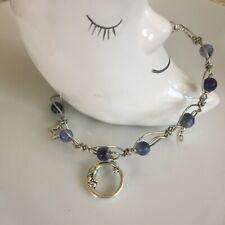 Sodalite Crystal Gemstone Anklet-Beaded Ankle Bracelet with Celestial Charms