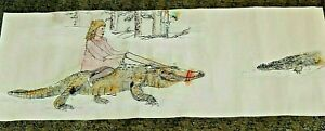 Debbi Chan saccomanno Hand Painted Watercolor Scroll A Fun Day With Crock's