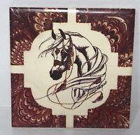 "Art Tile 4""x4"" Decorative Ceramic HORSE Head Equestrian Artist Signed"