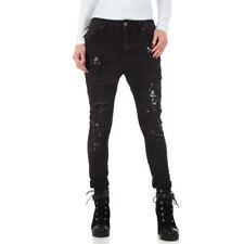 Damen Boyfriend Jeans Baggy Hose mit Knopfleiste Blau #H1843