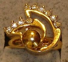 Ladies Vintage DAC 18KT Gold Overlay Motion Swinger 10 Crystal Stone Rings SZ. 6