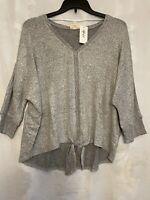 Style & Co Women's Plus Size 2X Tie-Hem Sweater Gray Heather Pullover NWT $56