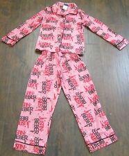 Girls 2-Piece Pajama Set Size 6/7 Justin Bieber Pink pants  AND shirt
