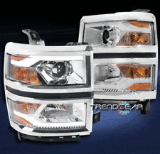 2014-2015 CHEVY SILVERADO 1500 TRUCK LED TUBE PROJECTOR HEADLIGHTS LAMPS CHROME