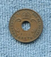 1942 East Africa 5 cents five cents Coin holed J-448