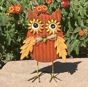 Metal Owl Farmhouse Home Garden Table Decor Orange