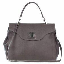 Roberta Gandolfi Italian Made Dove Gray Embossed Leather Carryall Tote Handbag