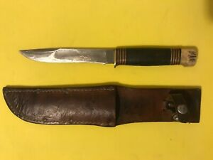 """Vintage MARBLES GLADSTONE MICH USA 10.5"""" Knife With Leather Sheath Stag Pommel"""