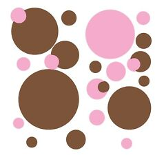 Polka Dots 31 BiG Wall STICKERS Room Decor Decals Bedroom Decorations Pink Brown
