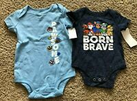 NWT Boys Blue Short Sleeve Set of 2 Paw Patrol Bodysuits 0-3 Months