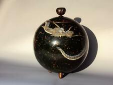 IMPRESSIVE Japanese Antique Oriental Spherical Jar Dragon Cloisonne Enamel Meiji