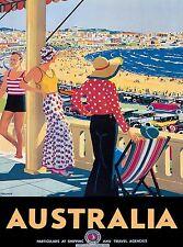 Australia Bondi Beach South Wales Vintage World Travel Advertisement Art Poster