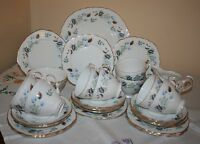 Vintage Colclough Bone China 8162 Linden Pattern Tea Set for 8 (27-Pieces)