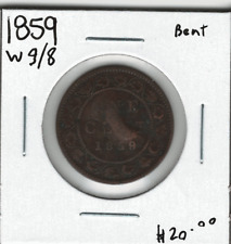 Canada 1859 1 Cent Penny W9/8 Wide 9 Over 8 Bent