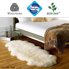 New Ultra Fleece Double Sheepskin Rug 185cm+ Genuine Lambskin Eco-Tan Sanitized