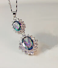 18K White Gold Filled - MYSTICAL Rainbow Topaz SunFlower Party Pendant Necklace